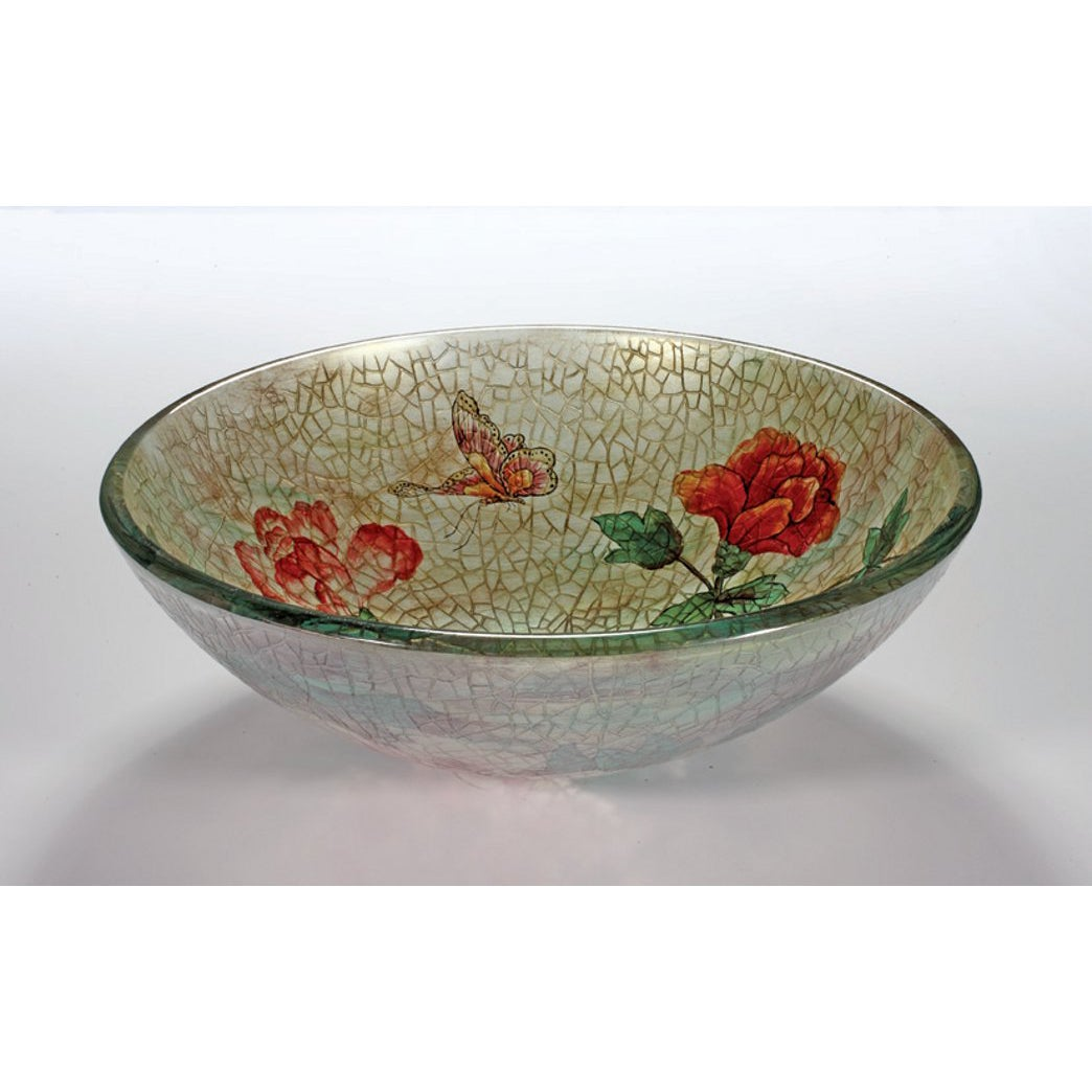 Rose/ Butterfly Glass Bowl Vessel Bathroom Sink - Thumbnail 0
