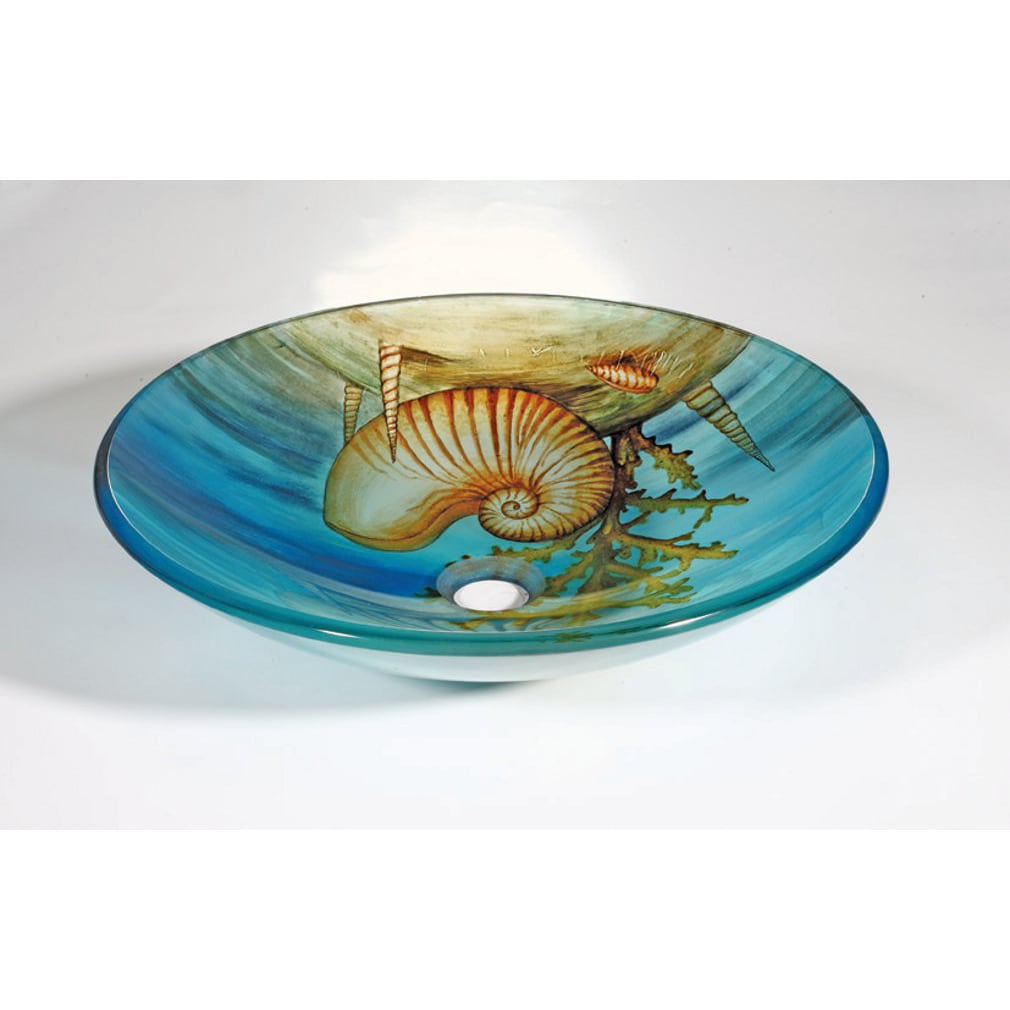 Seashell Glass Bowl Vessel Bathroom Sink - Thumbnail 0