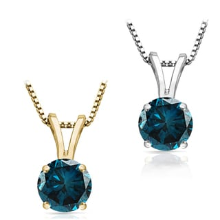 Auriya 14k Gold 3/4 to 1 1/2ct TDW Blue Diamond Solitaire Necklace