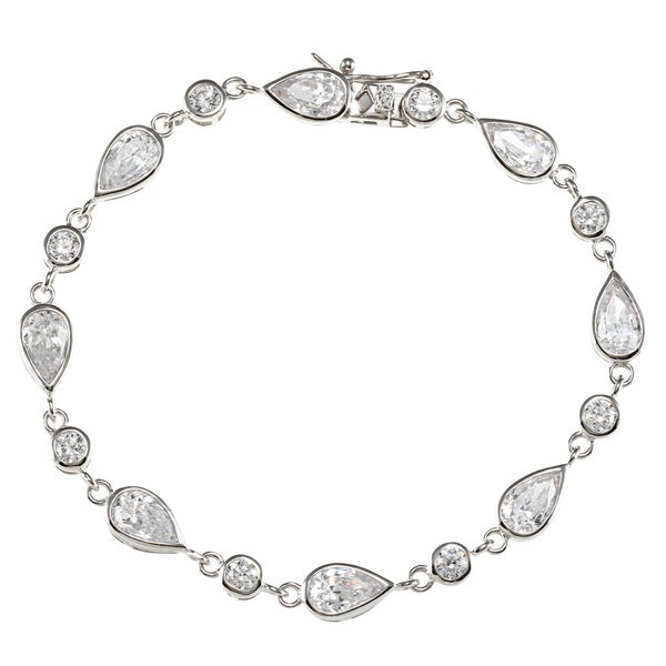 Sunstone Sterling Silver Teardrop Tennis Bracelet Made with SWAROVSKI ZIRCONIA