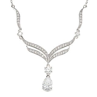 Sunstone 925 Sterling Silver Teardrop Necklace made with Swarovski Zirconia with Gift Box