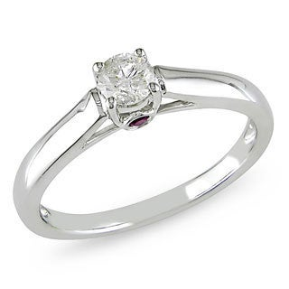 L'Amour Enrose by Miadora 14k White Gold 1/4ct TDW Diamond and Pink Sapphire Solitaire Ring (G-H, I1