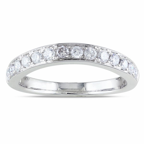 Miadora 14k White Gold 1/2ct TDW Curved Diamond Anniversary Ring (G-H, SI1-SI2)