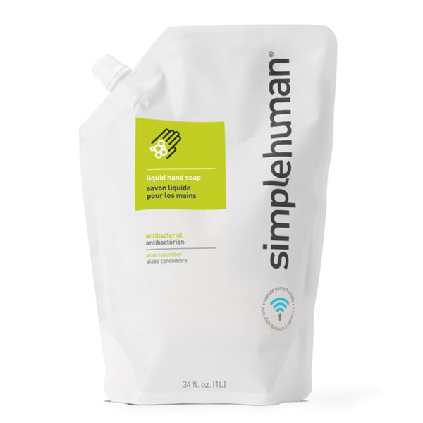 simplehuman Aloe + Cucumber Antibacterial Liquid Hand Soap 34-ounce Refill Pouch