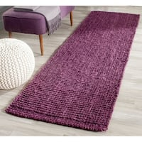 Safavieh Casual Natural Fiber Hand-Woven Purple Chunky Thick Jute Rug (2'6 x 8') - 2'6 x 8'