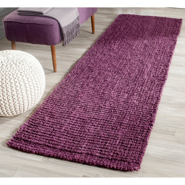 Safavieh Casual Natural Fiber Hand-Woven Purple Chunky Thick Jute Rug (2'6 x 8')