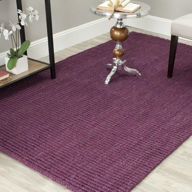 Safavieh Casual Natural Fiber Hand-Woven Purple Chunky Thick Jute Rug (3' x 5')