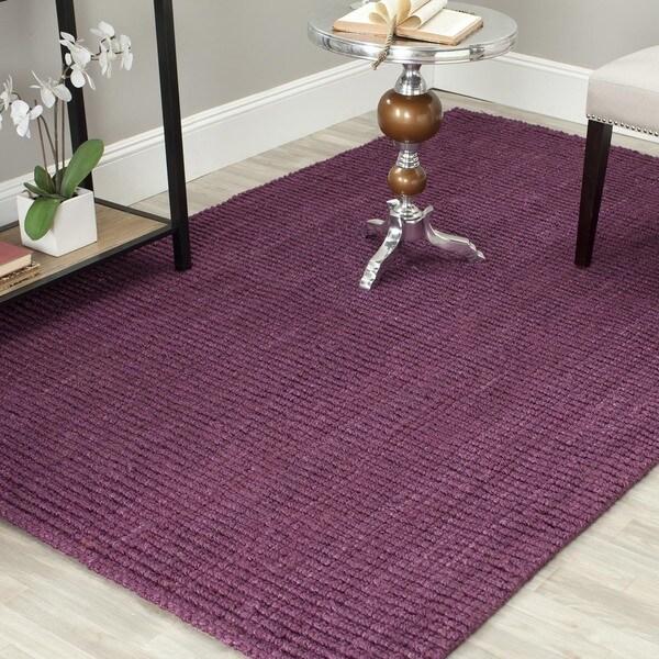 Safavieh Casual Natural Fiber Hand-Woven Purple Chunky Thick Jute Rug (5' x 8')