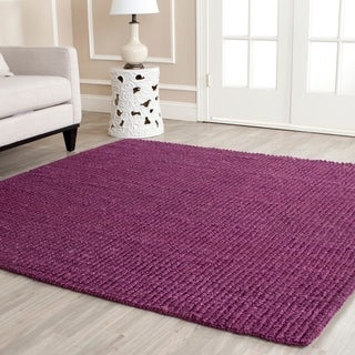 Safavieh Casual Natural Fiber Hand-Woven Purple Chunky Thick Jute Rug (6' Square)