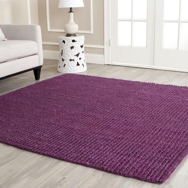 Safavieh Casual Natural Fiber Hand-Woven Purple Chunky Thick Jute Rug (8' x 10')