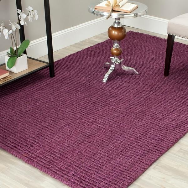 Safavieh Casual Natural Fiber Hand-Woven Purple Chunky Thick Jute Rug - 9' x 12'