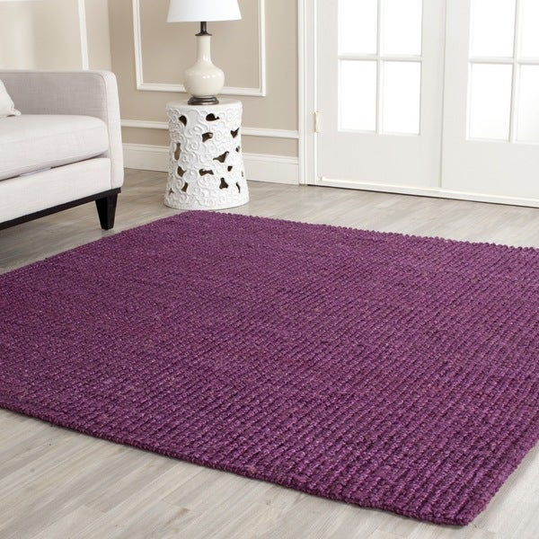 Safavieh Casual Natural Fiber Hand-Woven Purple Chunky Thick Jute Rug (9' x 12')