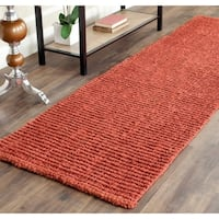 Safavieh Casual Natural Fiber Hand-Woven Rust Chunky Thick Jute Rug (2'6 x 8')