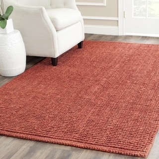 Safavieh Casual Natural Fiber Hand-Woven Rust Chunky Thick Jute Rug (6' Square)