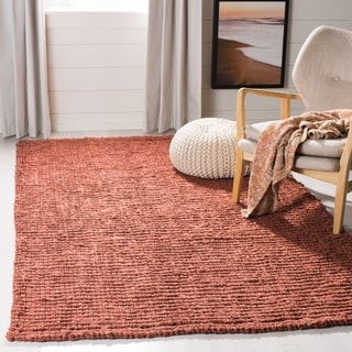 Safavieh Casual Natural Fiber Hand-Woven Rust Chunky Thick Jute Rug (8' Square)