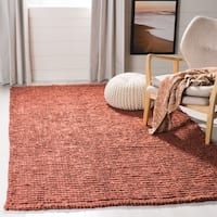 Safavieh Casual Natural Fiber Hand-Woven Rust Chunky Thick Jute Rug - 8' x 8' Square