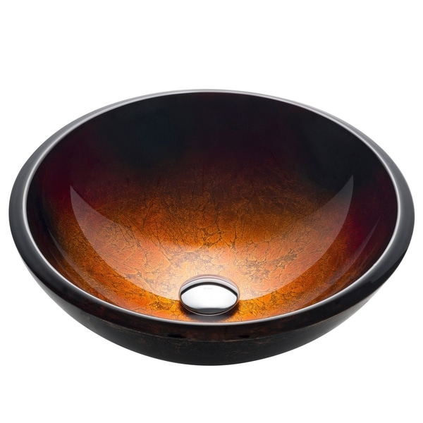 KRAUS GV-680-19mm Mercury 17 Inch Round Glass Vessel Bathroom Sink in Red Gold, Pop Up Drain, Mounting Ring option