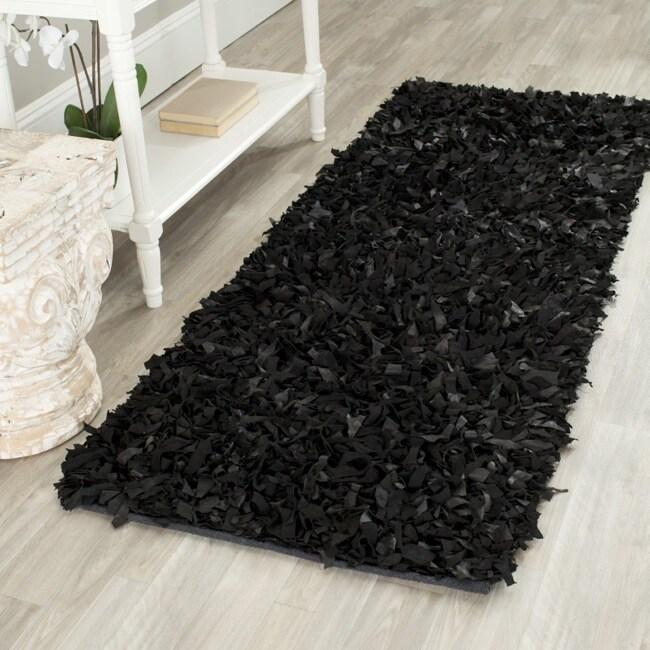 Safavieh Handmade Metro Modern Black Suede Leather Decorative Shag Rug (2'3 x 6')