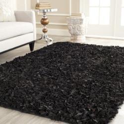 Safavieh Handmade Metro Modern Black Suede Leather Decorative Shag Rug (4' x 6')