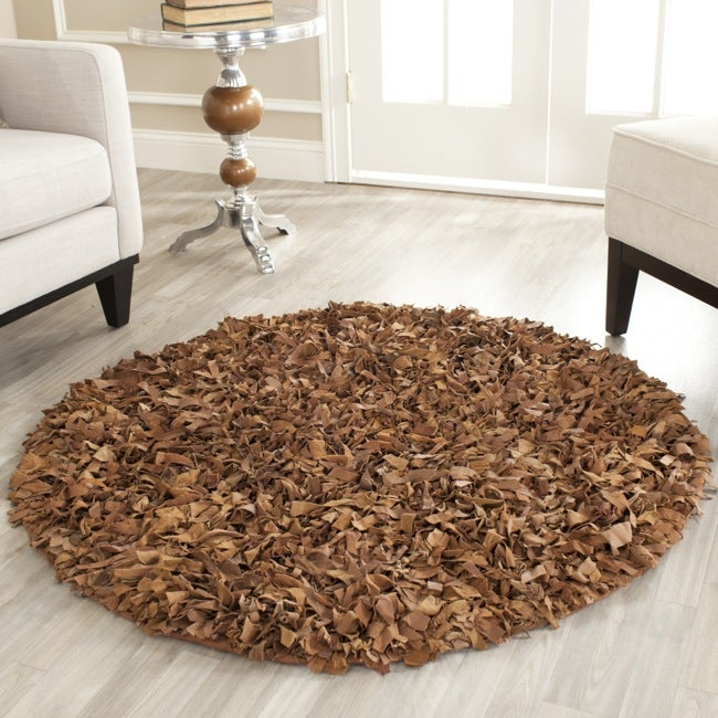 Safavieh Handmade Metro Modern Saddle Suede Leather Decorative Shag Rug