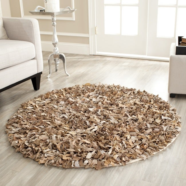 Safavieh Handmade Metro Modern Beige Suede Leather Decorative Shag Rug (4' Round) - Thumbnail 0