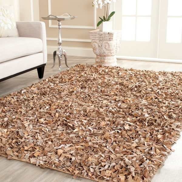 Safavieh Handmade Metro Modern Beige Suede Leather Decorative Shag Rug