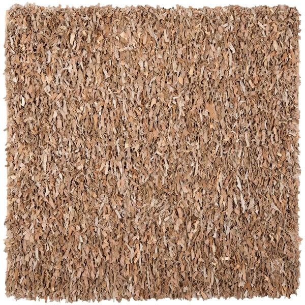 Safavieh Handmade Metro Modern Beige Suede Leather Decorative Shag Rug 6 X27 X