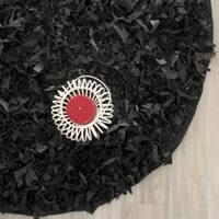 Safavieh Handmade Metro Modern Black Leather Decorative Shag Round Rug - 6' x 6' Round