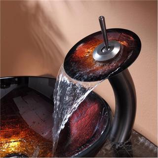 KRAUS Saturn Glass Vessel Sink in Red with Waterfall Faucet in Satin Nickel