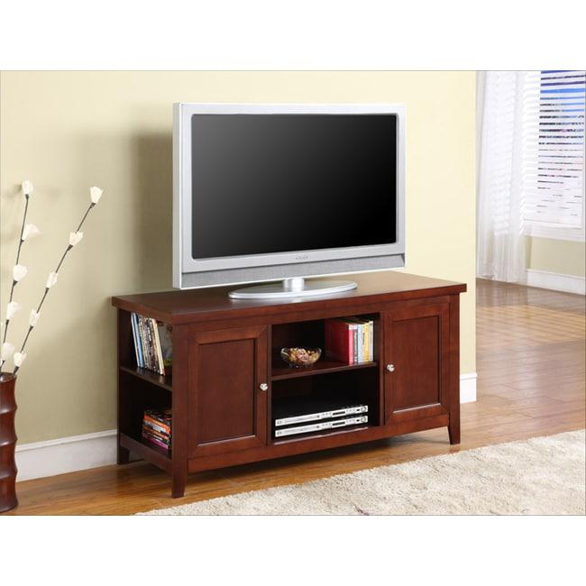 K&B Walnut Finish TV Stand