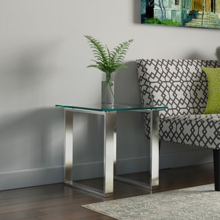 Porch & Den Arnold Glass and Chrome End Table