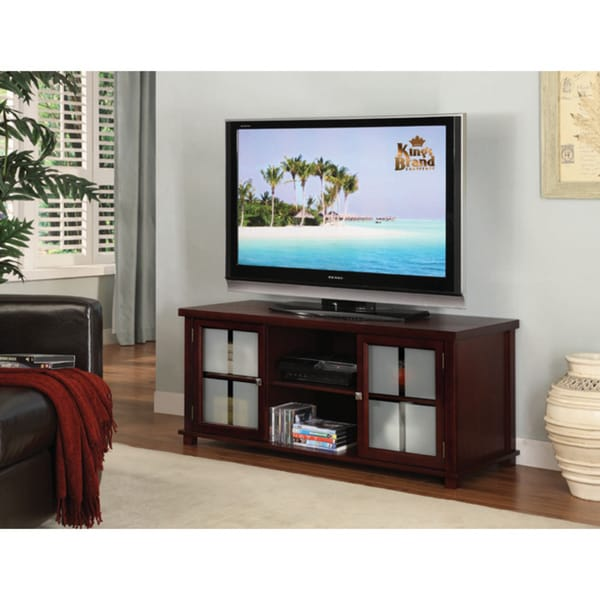 Shop K Amp B Dark Cherry Tv Stand Free Shipping Today