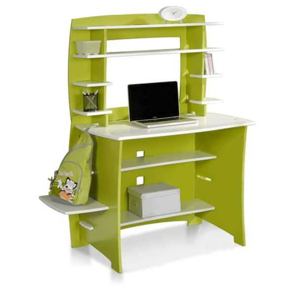 36 Inch Green White Desk And Hutch