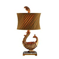 Peacock 1-Light Lamp w/Slant Pleats Shade
