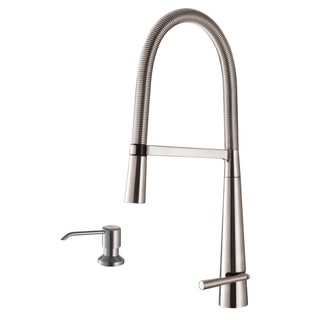 Ruvati RVF1225K1BN Brushed Nickel Pullout Spray Kitchen Faucet with Soap Dispenser