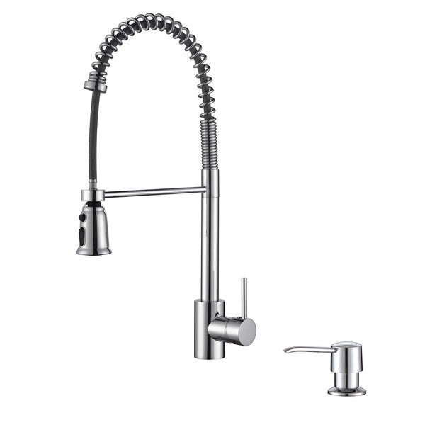 Ruvati RVF1215K1CH Polished Chrome Commercial Style Pullout Spray Kitchen Faucet with Soap Dispenser