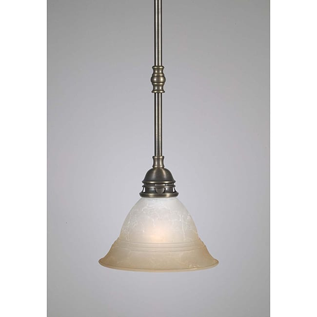 Transitional 1 Light Antique Brass Mini Pendant - Thumbnail 0
