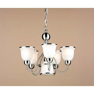Transitional 5+1 Light Brushed Nickel Chandelier