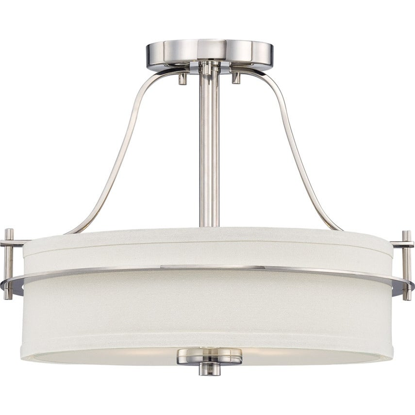 Nuvo Loren 2-light Polished Nickel Semi-flush Fixture