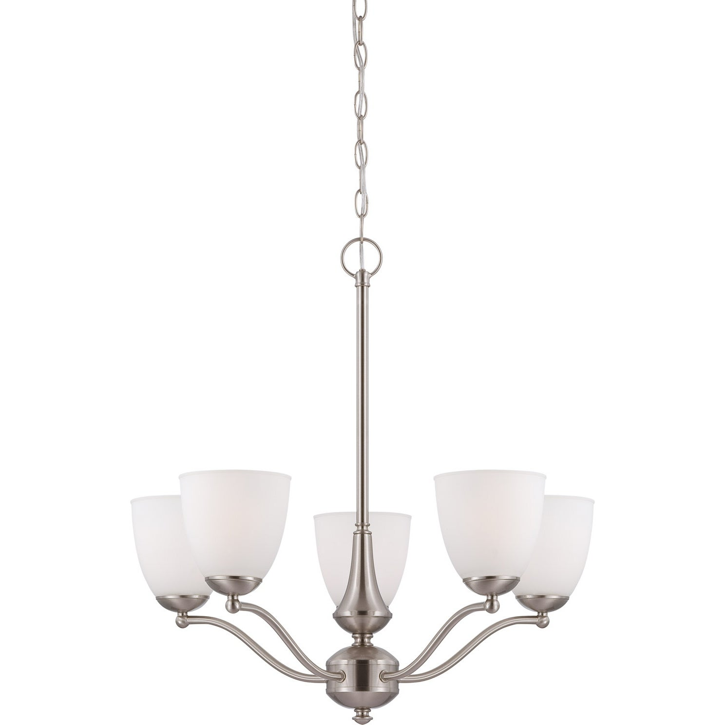 Nuvo 'Patton' Five-Light Brushed-Nickel Glass Chandelier