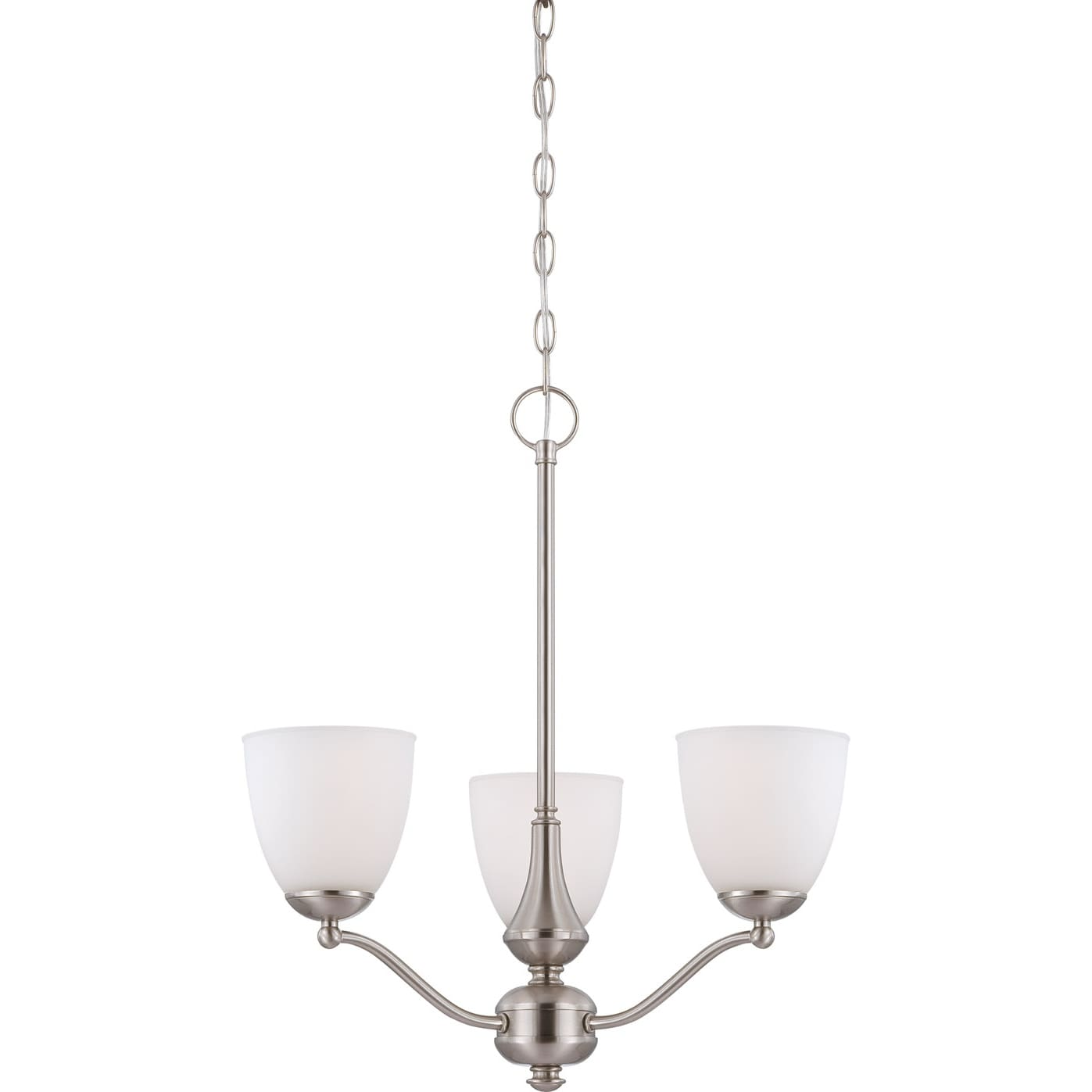 Nuvo 'Patton' Three-Light Brushed-Nickel Chandelier with Frosted-Glass Shades
