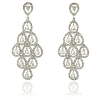 Dolce Giavonna Silver Overlay Diamond Accent White Topaz Chandelier Dangle Earrings