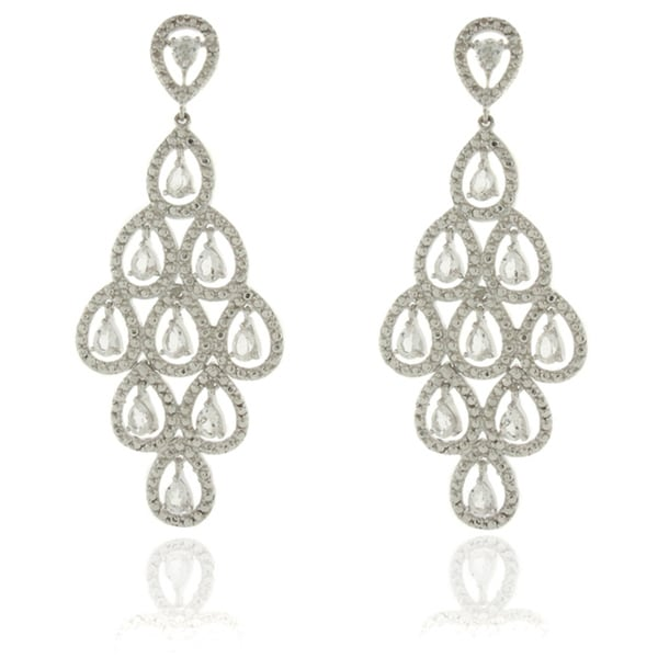 Dolce Giavonna Silver Overlay Diamond Accent White Topaz Chandelier Dangle Earrings