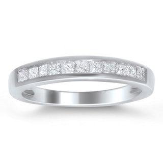 Montebello 14k White Gold 1/2ct TDW Princess-cut Diamond Wedding Band (I-J, I2-I3)