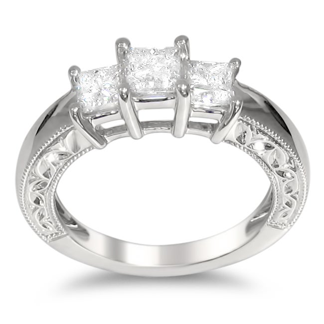 Montebello 14k White Gold 1ct TDW Princess-cut Diamond Engagement Ring (H-I, I1-I2)
