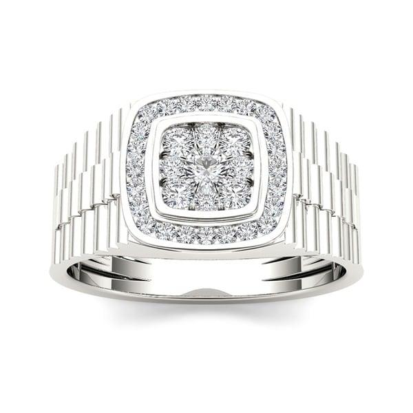 De Couer 10k White Gold Men's 1/2ct TDW Diamond Ring (H-I, I2)