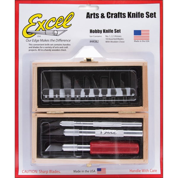 Hobby Knife Set In Wooden Box-