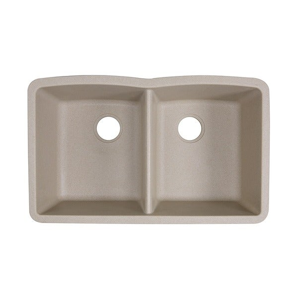 Highpoint Collection 50/50 Double Bowl Granite Composite Undermount Kitchen  Sink In Sand   Free Shipping Today   Overstock.com   14581300
