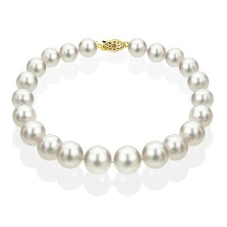 DaVonna 14k Gold White Akoya Cultured Pearl Bracelet (6.5-7 mm)