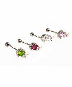 Carolina Glamour Collection Stainless Steel Jeweled Dolphin Barbell Belly Ring (Limited Edition)